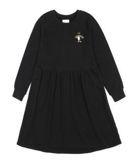 Appliqued long sleeve dress