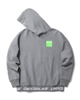 Square label badge hoodie
