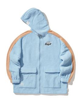 Panelled fleece zip-up hoodie