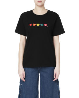 Rainbow hearts embroidered tee