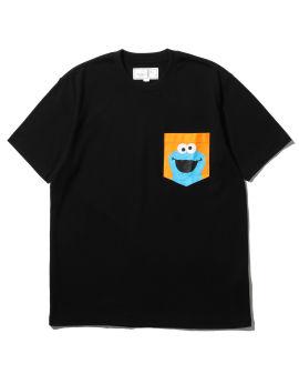 X SESAME STREET Cookie Monster print chest pocket tee