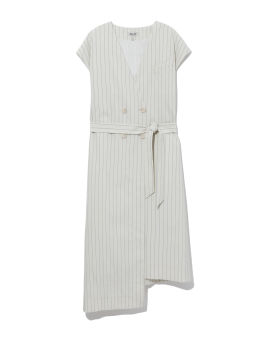 Double-breasted striped vest dress