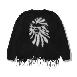 Ape head distressed cardigan