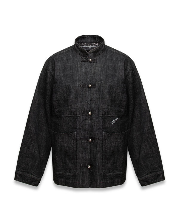Panelled sleeve button up jacket