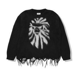 Intarsia knit distressed sweater