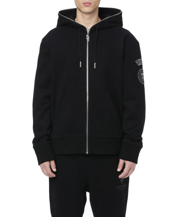 Logo embroidered zip hoodie
