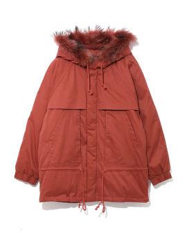 Fur trim hood down jacket