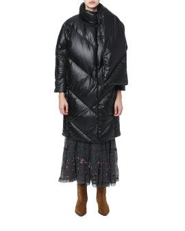 Scarf embellished down jacket