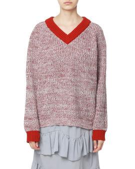 Contrast trim chunky knit sweater