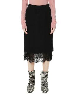 Panelled hem knit skirt