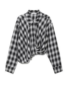 Asymmetric plaid shirt