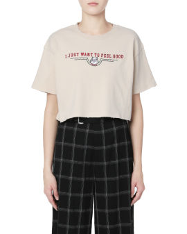 Cropped graphic embroidered tee