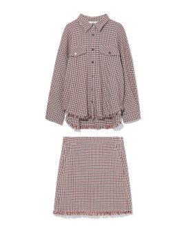 Plaid shirt and skirt set
