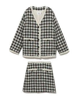 Tweed cardigan and skirt set