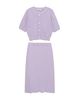Ribbed top and skirt set