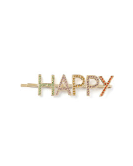 Embellished 'HAPPY' hair pin