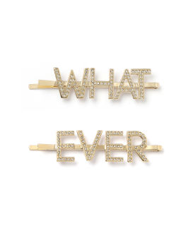 Embellished 'WHATEVER' hair pins