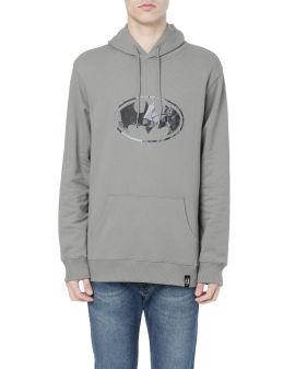X Batman emblem print hoodie