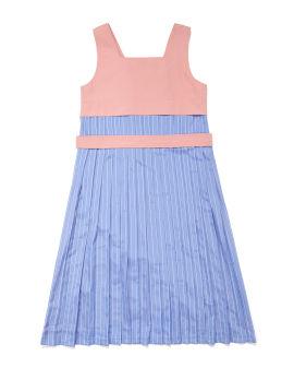 Pleated back panel dress
