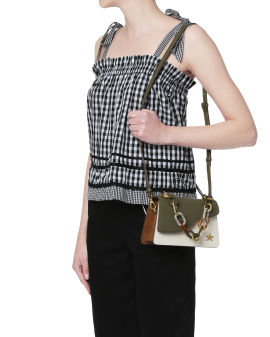 Chained leather shoulder bag