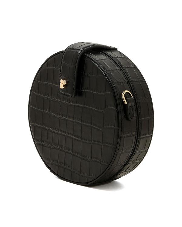 Croc-effect circle shoulder bag