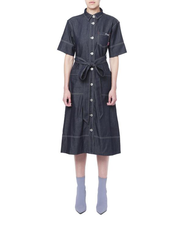 Contrast topstitch shirt dress
