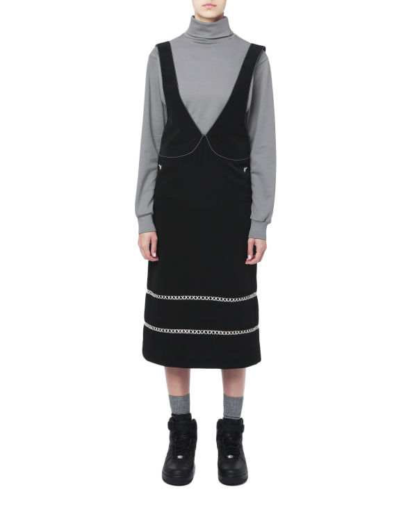 Contrast embroidered trim dress