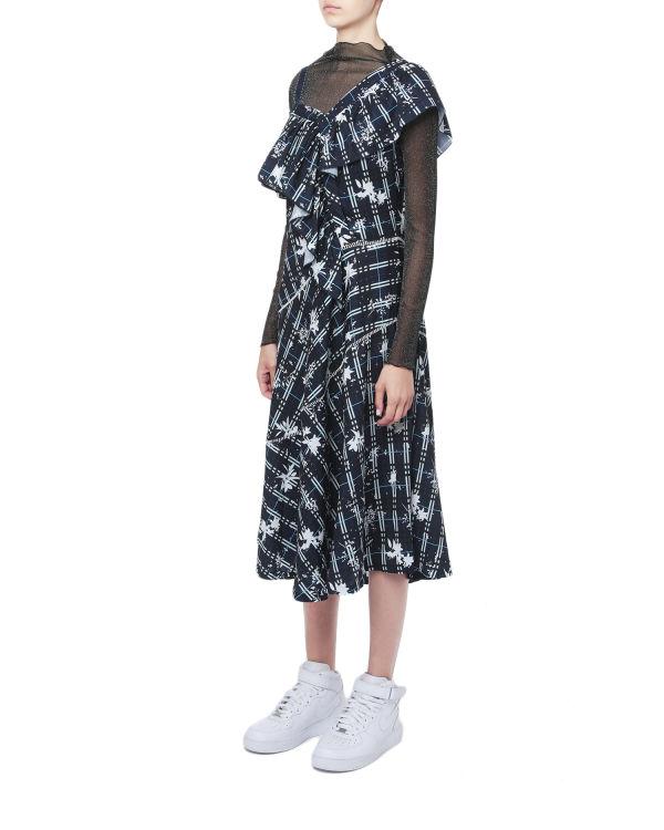 Asymmetrical ruffle trim printed dress