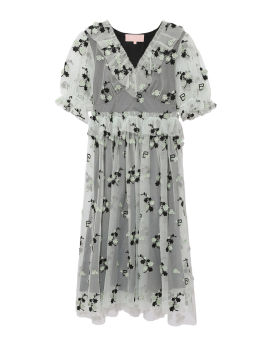 Floral embroidered layered dress