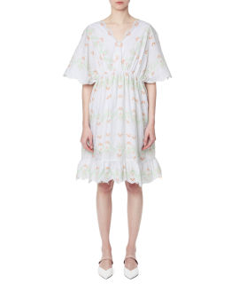 Floral embroidered broderie anglaise dress