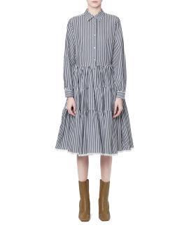 Striped Tiered Shirt Dress