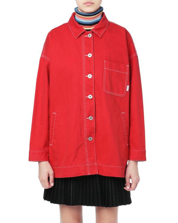 Contrast trim shirt jacket