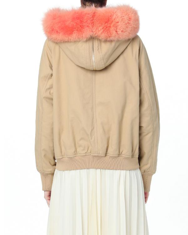 Faux-fur trim hooded jacket