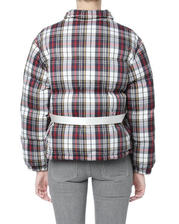 Plaid belted down jacket