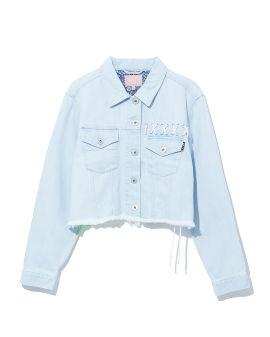 Lace-up denim jacket