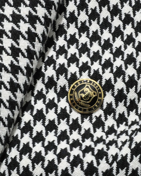 Houndstooth logo badge blazer