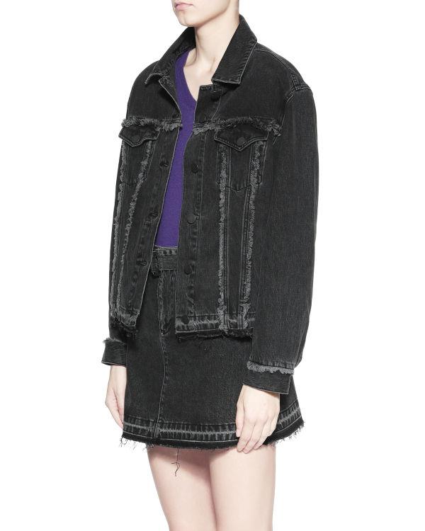 Frayed trim denim jacket