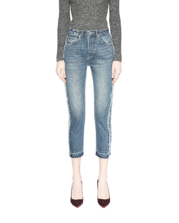 Frayed trim jeans
