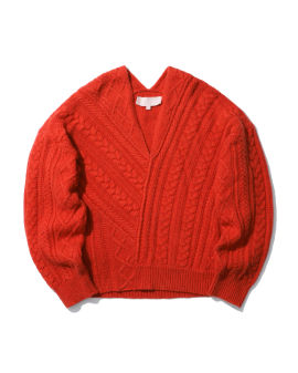 Asymmetric cable knit sweater