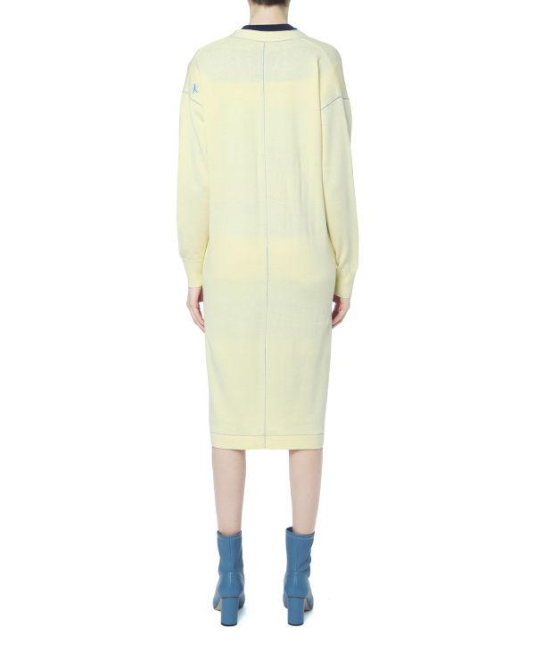 Contrast stitch long cardigan