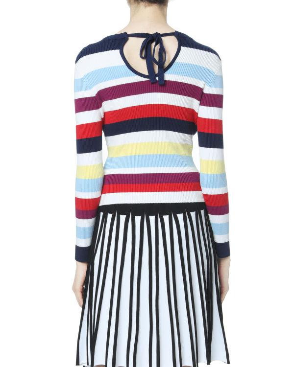 Striped tie back sweater