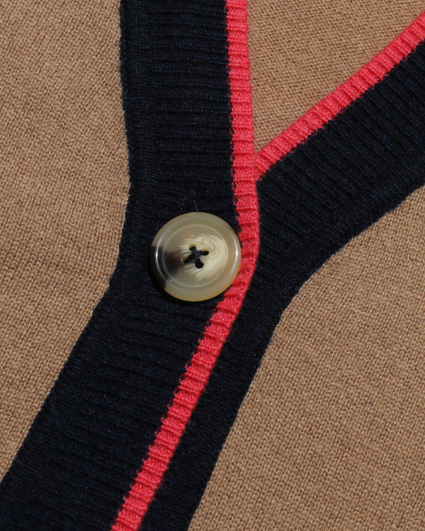 Beaded logo striped cardigan