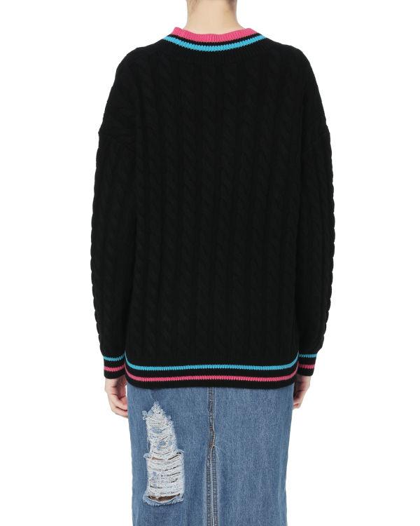 Contrast stripe logo knit top