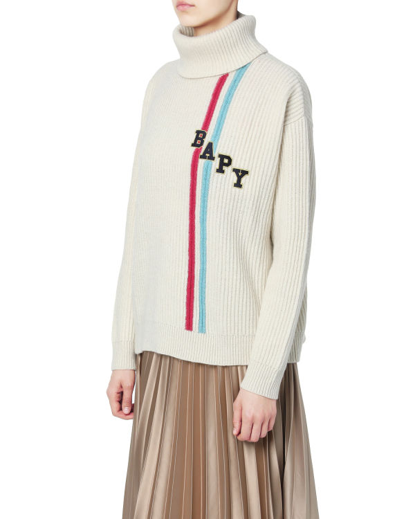 Logo stripes ribbed sweater