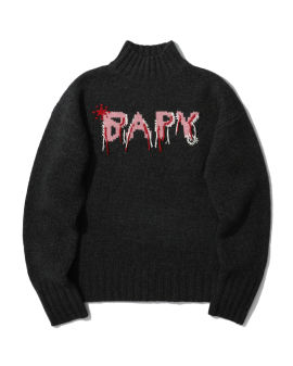 Intarsia knit mockneck sweater