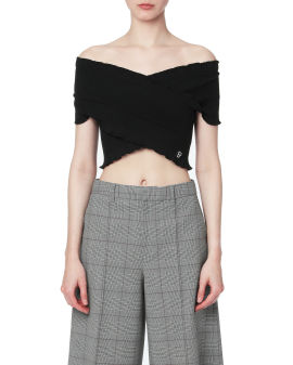 Cropped wrap ribbed top