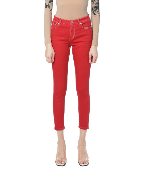 Contrast trim skinny pants