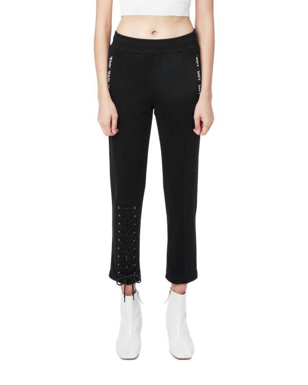 Side laced-up embellished pants