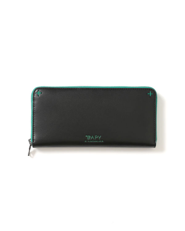 Contrast trim zip wallet