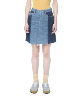 Two-tone denim skirt